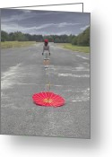 Distant Greeting Cards - Umbrella Greeting Card by Joana Kruse