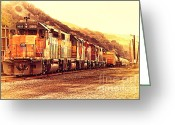 Old Postcards Greeting Cards - Union Pacific Locomotive Trains . 7D10563 Greeting Card by Wingsdomain Art and Photography
