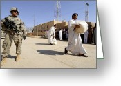 Humanitarian Aid Greeting Cards - U.s. Army Soldier Stands Guard Greeting Card by Stocktrek Images
