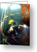 Maintenance Greeting Cards - U.s. Navy Diver Welds A Repair Patch Greeting Card by Stocktrek Images