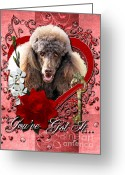 Poodle Greeting Cards - Valentines - Key to My Heart Poodle Greeting Card by Renae Frankz