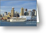 Harbors Greeting Cards - Vancouver skyline Greeting Card by John Greim