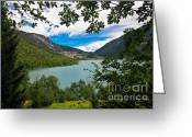 Scenary Greeting Cards - View Of Molveno Greeting Card by Gualtiero Boffi