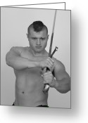 Male Physique Greeting Cards - Warrior Greeting Card by Jake Hartz