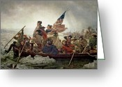 Winter Painting Greeting Cards - Washington Crossing the Delaware River Greeting Card by Emanuel Gottlieb Leutze