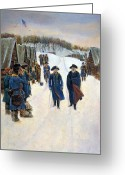 Rebellion Greeting Cards - Washington: Valley Forge Greeting Card by Granger