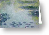 Lilies Greeting Cards - Waterlilies Greeting Card by Claude Monet