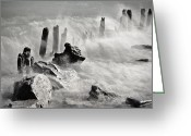 Stake Greeting Cards - Waves Greeting Card by Joana Kruse