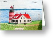 Historic Lighthouse Drawings Greeting Cards - West Quoddy Head Lighthouse Greeting Card by Frederic Kohli