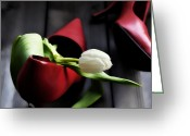 High Heels Greeting Cards - White And Red Greeting Card by Joana Kruse