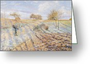 Snow On Field Greeting Cards - White Frost Greeting Card by Camille Pissarro