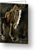 Wild Horse Painting Greeting Cards - Wild heart Greeting Card by Angel  Tarantella