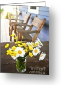 Cabin Window Greeting Cards - Wildflowers bouquet at cottage Greeting Card by Elena Elisseeva