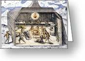Winter Sleep Greeting Cards - WILLEM BARENTS (c1550-1597) Greeting Card by Granger