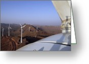 Farm Machine Greeting Cards - Wind Farm Greeting Card by Volker Steger