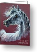 Horse Portrait Pastels Greeting Cards - Wind In The Mane Greeting Card by Angel  Tarantella