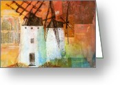 Windmill Mixed Media Greeting Cards - Windmills Greeting Card by Sandra Cox