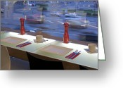 Upscale Greeting Cards - Window Seating in an Upscale Cafe Greeting Card by Jaak Nilson