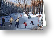 Ice Skating Greeting Cards - Winter Fun at Bowness Park Greeting Card by Neil Woodward