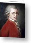Composer Greeting Cards - Wolfgang Amadeus Mozart Greeting Card by Granger