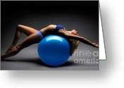 Curve Ball Greeting Cards - Woman on a Ball Greeting Card by Oleksiy Maksymenko