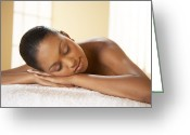 Peak One Greeting Cards - Woman Relaxing At A Beauty Spa Greeting Card by Adam Gault