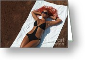 Sun Tan Greeting Cards - Woman Sunbathing Greeting Card by Oleksiy Maksymenko