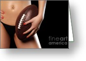Young Teen Greeting Cards - Woman with a Football Greeting Card by Oleksiy Maksymenko