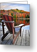 Adirondack Greeting Cards - Wooden dock on autumn lake Greeting Card by Elena Elisseeva