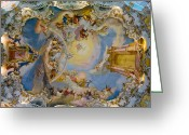 Fresco Greeting Cards - World heritage frescoes of wieskirche church in bavaria Greeting Card by Ulrich Schade