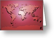 3d Greeting Cards - World Map in Red Greeting Card by Michael Tompsett
