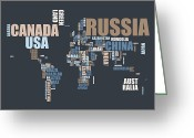 Country Art Greeting Cards - World Map in Words Greeting Card by Michael Tompsett