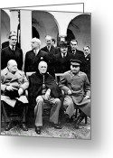 Men Greeting Cards - Yalta Conference, 1945 Greeting Card by Granger