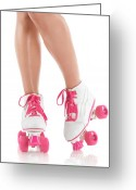 Derby Skater Greeting Cards - Young Woman Wearing Roller Derby Skates Greeting Card by Oleksiy Maksymenko