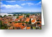 Tile Greeting Cards - Zemun rooftops in Belgrade Greeting Card by Elena Elisseeva