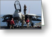 Maintenance Greeting Cards - An F-14d Tomcat On The Flight Deck Greeting Card by Gert Kromhout
