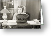 Work Lamp Greeting Cards - Silent Film Still: Offices Greeting Card by Granger