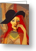 Gimp Greeting Cards - 200 - Woman with black hat  Greeting Card by Irmgard Schoendorf Welch