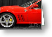 Red Sportscar Greeting Cards - 2003 Ferrari 575M . 7D9389 Greeting Card by Wingsdomain Art and Photography