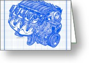 Corvette Gift Drawings Greeting Cards - 2005 - 2007 LS2 Corvette Engine Blueprint Greeting Card by K Scott Teeters