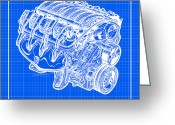 Corvette Gift Drawings Greeting Cards - 2005 - 2007 LS2 Corvette Engine Reverse Blueprint Greeting Card by K Scott Teeters