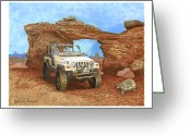 Framed Prints Drawings Greeting Cards - 2005 Jeep Rubicon 4 wheeler Greeting Card by Jack Pumphrey