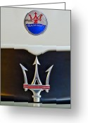 Car Mascot Greeting Cards - 2005 Maserati MC12 Hood Ornament Greeting Card by Jill Reger