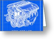 Corvette Gift Drawings Greeting Cards - 2006 - 2013 Z06 LS7 Corvette Engine Reverse Blueprint Greeting Card by K Scott Teeters