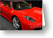 Red Sportscar Greeting Cards - 2006 Ferrari F430 Spider . 7D9385 Greeting Card by Wingsdomain Art and Photography