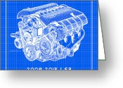 Corvette Gift Drawings Greeting Cards - 2008-2013 LS3 Corvette Engine Reverse Blueprint Greeting Card by K Scott Teeters