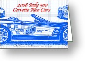 Corvette Art Print Drawings Greeting Cards - 2008 Indy 500 Corvette Pace Car Blueprint Series Greeting Card by K Scott Teeters