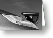 2008 Greeting Cards - 2008 Porsche Turbo Cabriolet Tail Fin black and white Greeting Card by Jill Reger