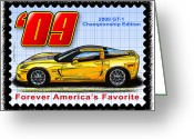 Championship Drawings Greeting Cards - 2009 GT-1 Championship Edition Corvette Greeting Card by K Scott Teeters