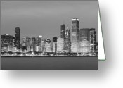 Chicago Skyline Greeting Cards - 2010 Chicago Skyline Black and White Greeting Card by Donald Schwartz